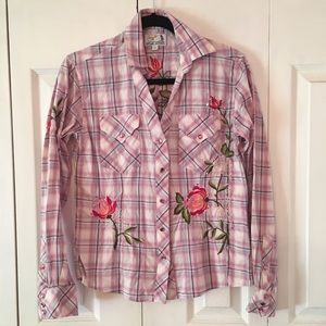 Western Wear Pink Plaid Button Shirt Panhandle M